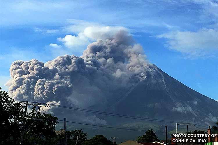 Heavy volcano ash falls force work suspension