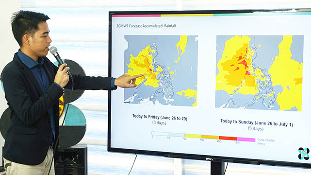 Philippine Atmospheric, Geophysical and Astronomical Services Administration (PAGASA) meteorologist Benison Estareja gives an update on Tropical Depression Dodong in a press conference held at the PAGASA Weather and Flood Forecasting Center, Diliman, Quezon City on Wednesday (June 26, 2019). While 'Dodong' is not expected to directly impact the country, Estareja said the southwest monsoon will bring scattered rain showers and thunderstorms